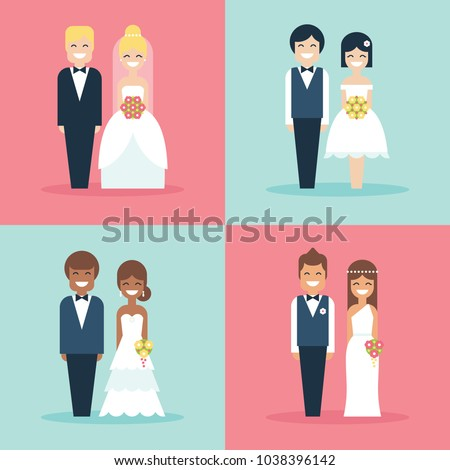 Cute Bride Groom Wedding Cake Toppers Stock Vector 1038396142 ...