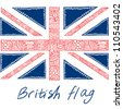 Cute British Flag in ornamented  style - stock vector