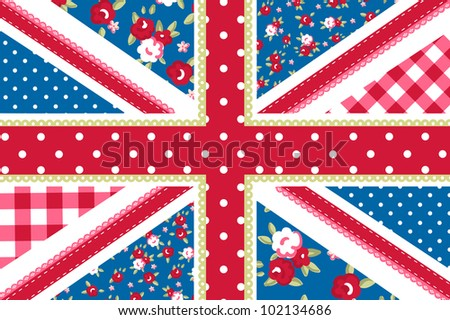 Cute British Flag in Shabby Chic floral style - stock vector