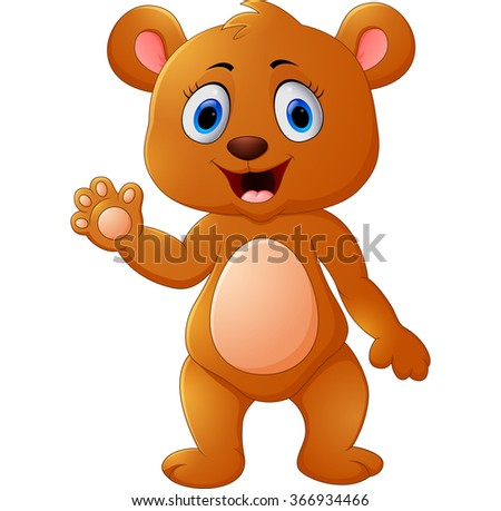 Cute brown bear waving hand - stock vector