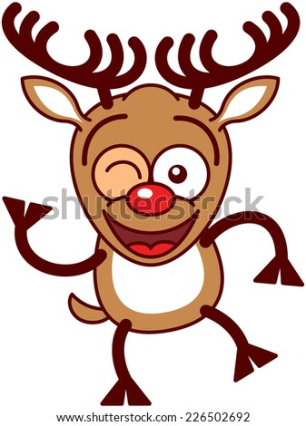 Cute brown reindeer with big antlers and red nose while raising a leg, winking and waving enthusiastically - stock vector