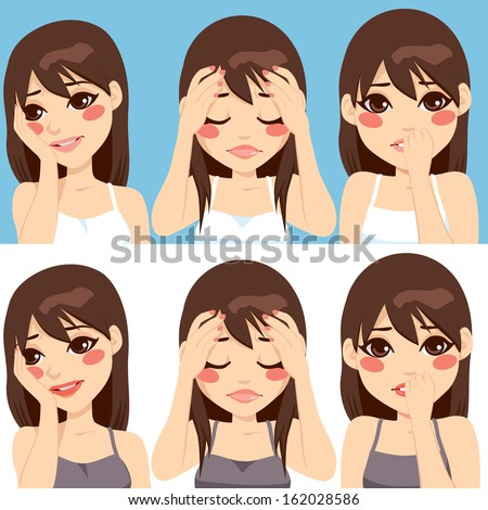 Cute brunette woman posing making different worried face expressions - stock vector