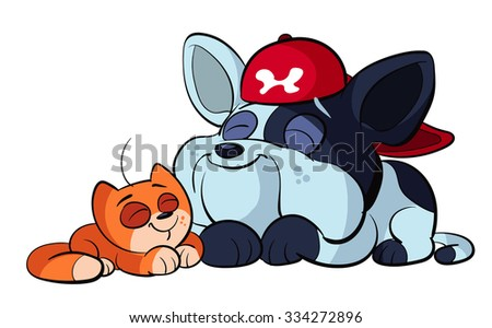 cute bulldog and adorable red cat - stock vector