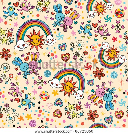 cute bunnies, birds, rainbows seamless pattern