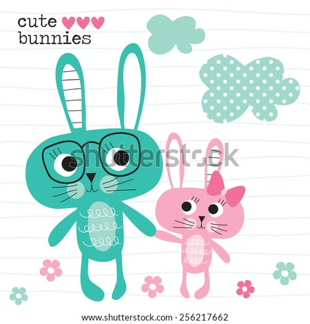 cute bunnies vector illustration - stock vector