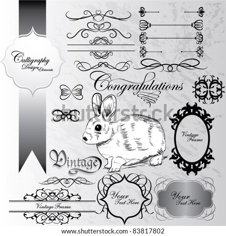 cute bunny and calligraphic design elements in grunge background - stock vector
