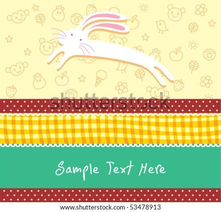 cute bunny arrival card - stock vector