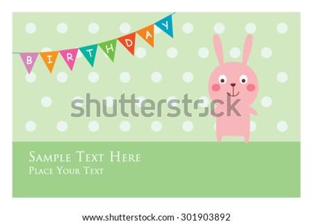 cute bunny birthday invitation card stock vector 301903892