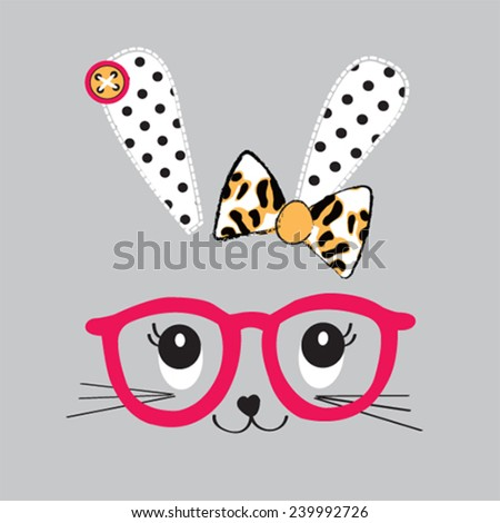cute bunny face with glasses vector illustration - stock vector