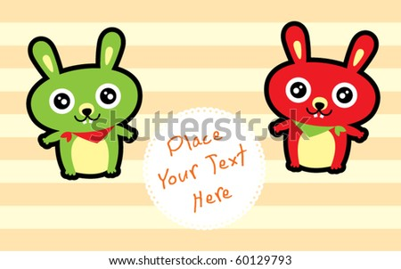 cute bunny friend greeting tag - stock vector