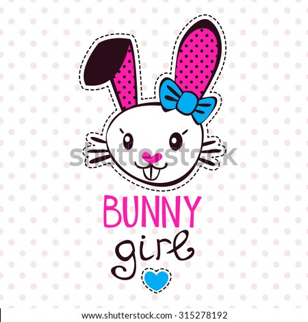 Cute bunny girl, fancy girlish vector illustration, template for girls t-shirts design - stock vector