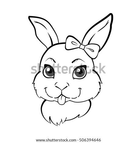 Rabbit Outline Hand Drawn Stock Vector Stock Vector 572294725 ...