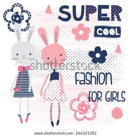 cute bunny girls, fashion for girls, T-shirt design vector illustration - stock vector