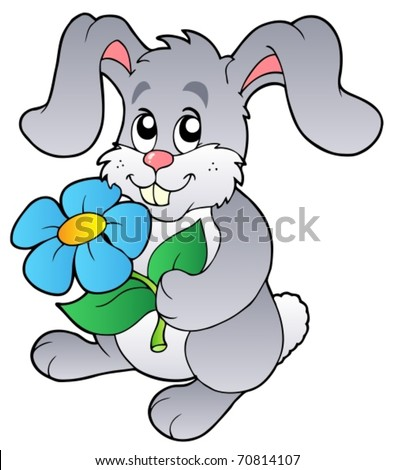 Cute bunny holding flower - vector illustration. - stock vector