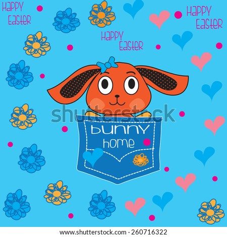 cute bunny in a pocket with flowers and hearts vector illustration - stock vector