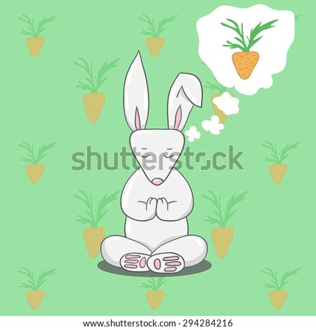 Cute bunny sitting in yoga lotus pose and dreaming of carrots - stock vector