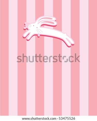 cute bunny tag - stock vector