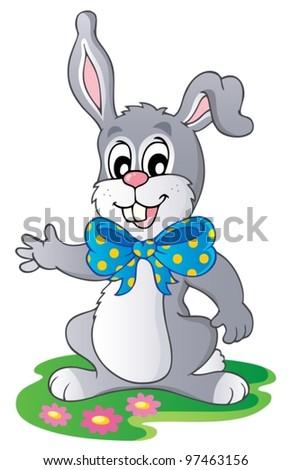 Cute bunny with big ribbon - vector illustration. - stock vector