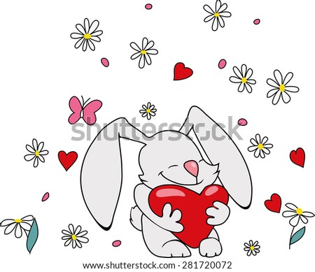 Cute bunny with heart. Valentine illustration. Daisy and dots