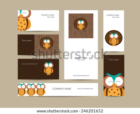 Cute business elements - cards, banner and folder - stock vector