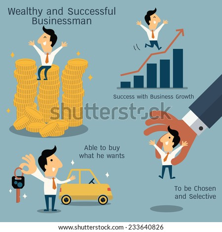 Cute businessman character in business concept of wealthy, rich, and being successful. - stock vector