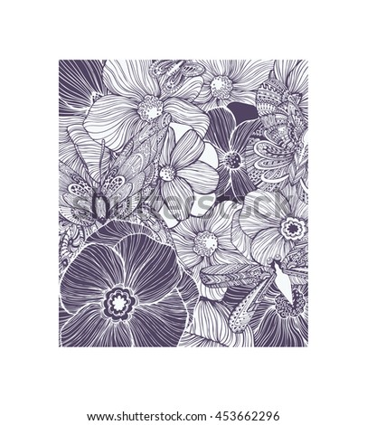 Cute butterflies and dragonflies in flowers, leaves. Adult coloring book page, black and white pattern. Hand drawn vector illustration, separated elements under mask. - stock vector