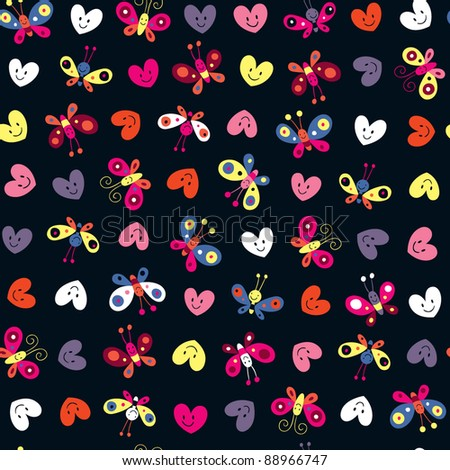 cute butterflies & hearts pattern