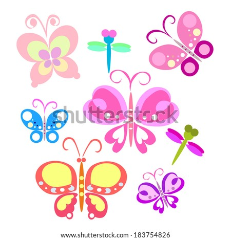 cute butterfly and dragonfly vector file set - stock vector
