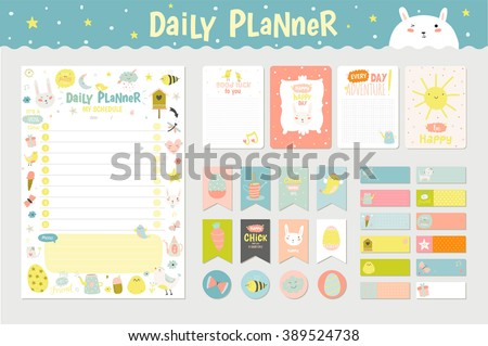 Cute Calendar Daily Planner Template 2016 Vector 389524738 – Daily Diary Template