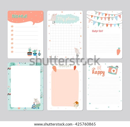 Cute Calendar Daily Planner Template 2016 Stock Vector 425760865