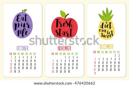 Cute 2017 Calendar Pages Smiling Cartoon Stock Vector 476858590 ...