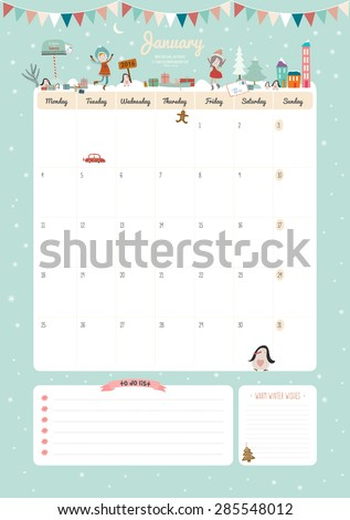 Cute Calendar Template for 2016. Beautiful Diary with Vector Character and Funny Illustrations Animals and Kids. Trendy Season Holidays Backgrounds. Good Organizer and Schedule with place for Notes - stock vector
