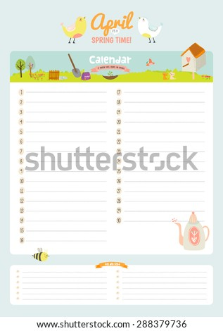 Cute Calendar Weekly Planner Template  Stock Vector