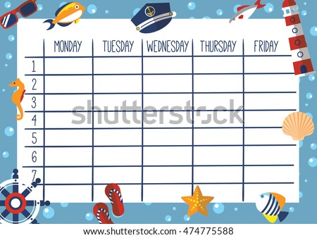 Cute Calendar Weekly Planner Template Marine Stock Vector ...