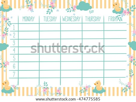 cute schedule template