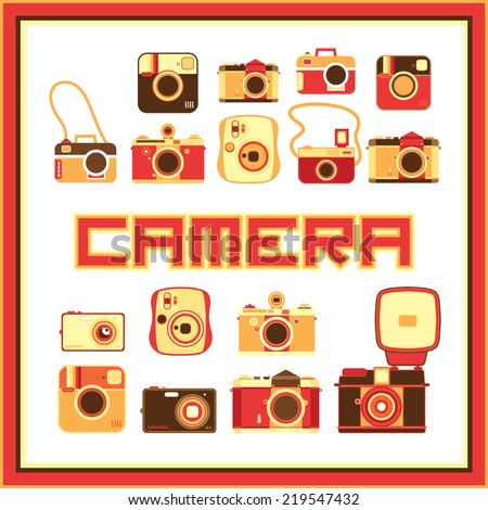 Cute camera icon - stock vector