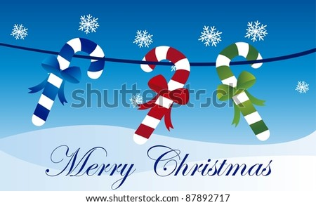 cute candy christmas over snow, background. vector