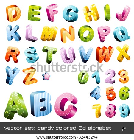 cute candy-colored 3d alphabet (caps and numerics) - stock vector
