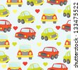 cute car seamless - stock vector