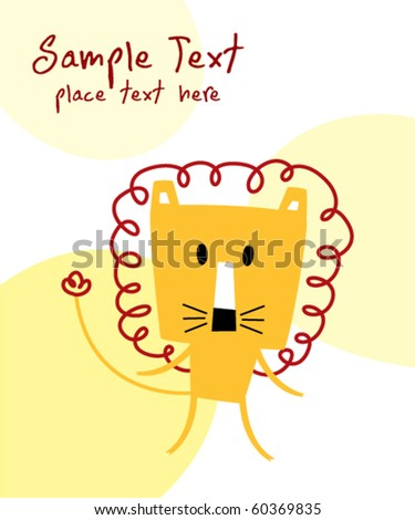 cute card of lion - stock vector