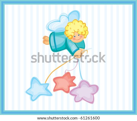 Cute card of small angel. - stock vector