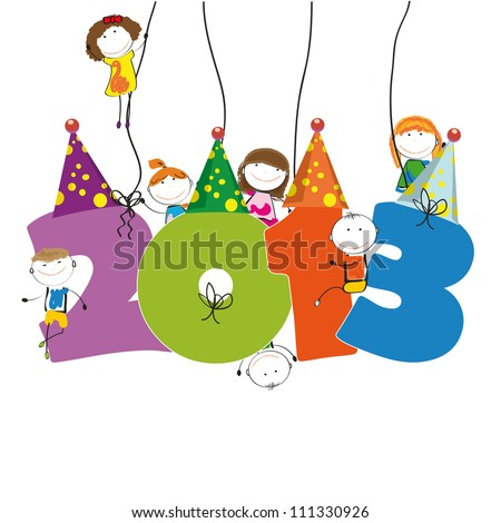 Cute card on New Year 2013 with happy kids - stock vector