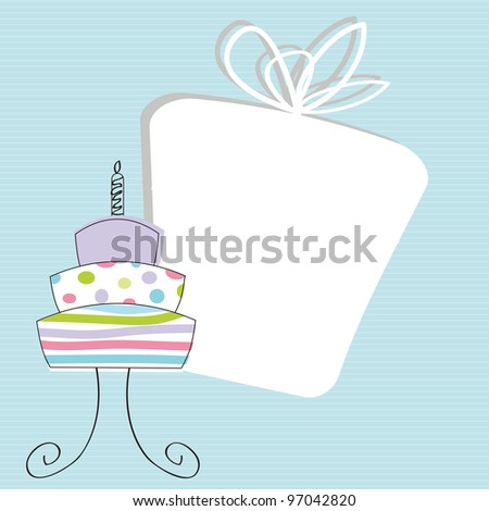 Cute card on special day, birthday example - stock vector