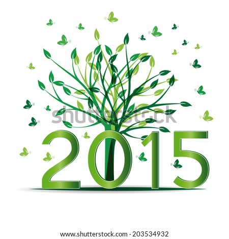 Cute card on 2015 year with green sets - stock vector