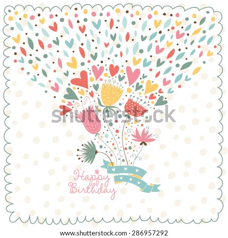 Cute card to the birthday. Vector graphics with a flowers and hearts. - stock vector