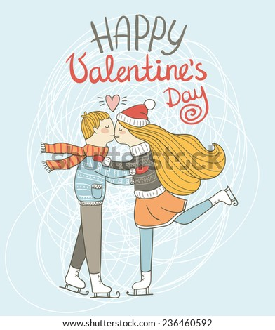 Cute card Valentine's Day. The boy and the girl are skating on ice rink - stock vector