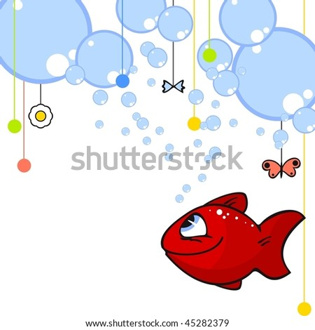 Cute card with a little red fish - stock vector