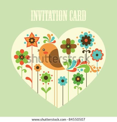 cute card with deco bird. vector illustration - stock vector