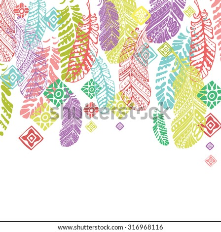 Cute card with feathers. Colorful background for wallpaper, pattern fills, web page background, surface textures or fabric design - stock vector