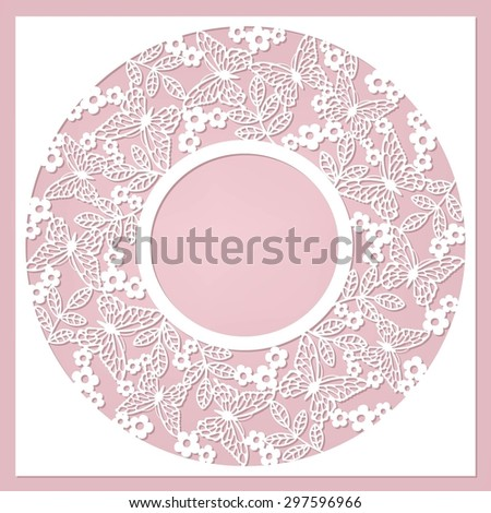 cute card with flowers and butterfly - stock vector